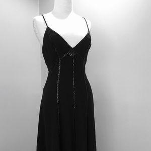 DNKNY Silk spaghetti strap midi A-line dress